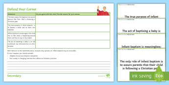 Infant Baptism Activity Sheets - Infant Baptism, Holy water, Font, John the Baptism, Sacrament, religious tradition
