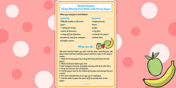Handas Surprise Fruit Sticks with Yoghurt Recipe Sheet - recipes