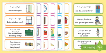 Classroom Equipment Question Labels Arabic/English - EYFS, KS1, Early Years, Key Stage 1, Start Of Term, Classroom Set Up, Toy Labels, Resource Labels, C