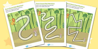 The Lion And The Mouse Pencil Control Path Worksheets - control