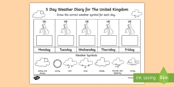 5 Day Weather Diary for the United Kingdom Activity Sheet - weather, climate, UK, Britain, british, united kingdom, map, daily, forecast, worksheet, weather sym