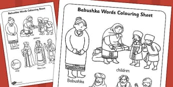 Babushka Words Colouring Sheet - babushka, colouring, sheet