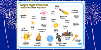 Bonfire Word Mat Romanian Translation - romanian, bonfire night, word mat
