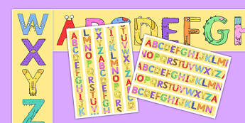 Upper Case Monster Alphabet Display Borders - uppercase, monster, alphabet, display border, display, border
