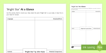 At a Glance Activity Sheet to Support Teaching on 'Bright Star' by John Keats  - bright star, gcse, english, keats, worksheet, activity sheet, english literature, anthologies, OCR,