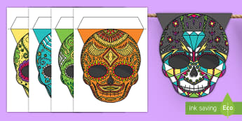 Day of the Dead Display Bunting - day of the dead, dia de los muertos, sugar skulls, day of the dead bunting, sugar skull bunting, dis