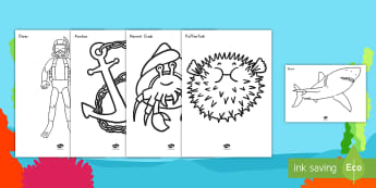 Extra Large Under the Sea Coloring Activity - sea creatures, water, coloring pages, activity, art, creativity