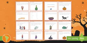 Tarjetas de desafío: Fracciones de Halloween - Fracciones, ejercicios de fracciones, problemas de fracciones, fracción, matemáticas, halloween, p
