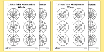 2 Times Table Wheels Activity Sheet Pack - multiply, multiplication, times, calculations, maths, mathematics, two times table, worksheet, times table, times tables