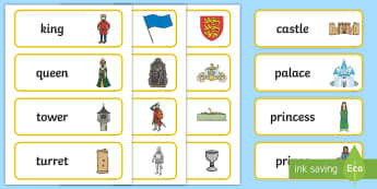 Fairytale Castle Word Cards - Fairytale Castle Role Play Pack, Word cards, Word Card, flashcard, flashcards, fairytale castle, princess, prince, knight, king, queen, banquet, ball, invites, shields, castle, tale, role play, display, poster