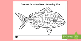 Year 2 Common Exception Words Colouring Fish Activity Sheet - Year 2 Common Exception Words Colouring Butterfly - reward, award, spelling, reading, writing, liter