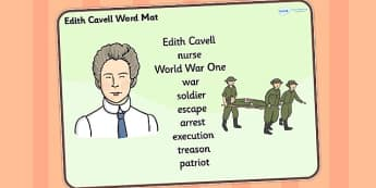 Edith Cavell Word Mat - edith cavell, word mat, topic words, topic mat, themed word mat, writing aid, mat of words, key words, keywords, key word mat, mat