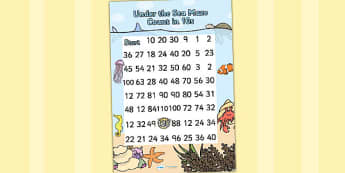 Under the Sea Counting in 10s Maze Worksheet - counting maze