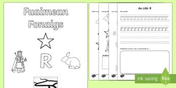 Fuaimean Fonaigs R Duilleagan-Obrach - Cfe, Early Level, First Level, Letters, Sounds, Phonics, Gaelic Sounds, Gaelic Alphabet,Scottish