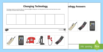 Changing Technology Activity Sheet - Telephones, mobiles, communication, sequencing, worksheet, history, comparing, ordering