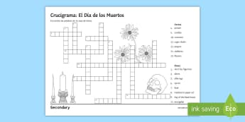 Mexican Day of the Dead Crossword Spanish - 31st, October, Festivities, Celebrations, Vocabulary, Mexico, worksheet
