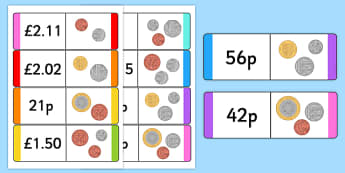 New British (UK) Coin Value Loop Cards - money, numeracy, coins