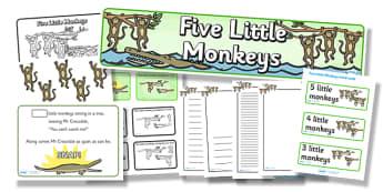 5 Little Monkeys Resource Pack - 5 little monkeys, resource pack, pack of resources, themed resource pack, 5 little monkeys pack, nursery rhymes