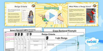 PlanIt - DT LKS2 - Battery Operated Lights Unit Lesson 4: Designing Lesson Pack - cross sectional, design criteria, functional, innovative
