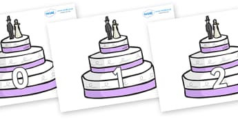 Numbers 0-50 on Wedding Cakes - 0-50, foundation stage numeracy, Number recognition, Number flashcards, counting, number frieze, Display numbers, number posters