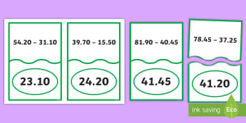 Decimal Number Subtraction Matching Cards - ACMNA128, Year 6 Maths, Take Away Decimals, Decimal Subtraction, Take Decimal Numbers, Decimal Numbe