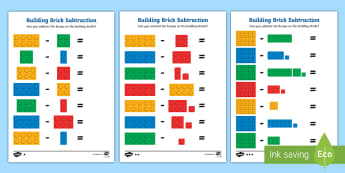 Building Brick Subtraction Activity Sheets - maths, mathematics, subtracting, subtract, take away, minus, count, bricks, lego, duplo, worksheet,