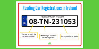 Reading a Car Registration Display Poster - roi, irish, republic of ireland, reading, car, registration, display poster