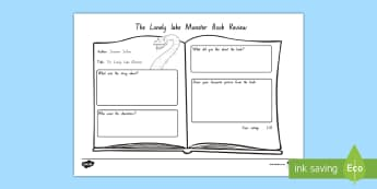 Years 3 and 4 Week 4 Chapter Chat Book Review to Support Teaching On The Lonely Lake Monster by Suzanne Selfors - reading, literacy, S Selfors, new zealand, the lonely monster, opinion, discuss, worksheet