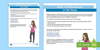 Rules and Boundaries Adult Guidance - Relationships, young people, emotions, families, PSHCE