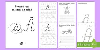 """Scrierea literelor """"â"""" și """""""" de mână Broșură cu activități - alfabetul, scriere, litere, de mână, grafisme"""