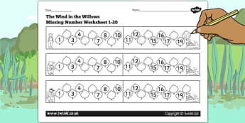 The Wind in the Willows Missing Number Worksheet 1-20 - number