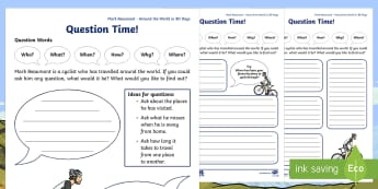F-2 Around The World In 80 Days Mark Beaumont Interview Questions Activity Sheet - Mark Beaumont, Around The World In 80 Days, Cycling, Challenge, World Record worksheet, , Australian