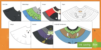 Cymeriadau Côn Calan Gaeaf Pobl Siâp Côn  - Halloween, cone, people, Calan ,Gaeaf, Pobl ,Siâp, Côn,Welsh