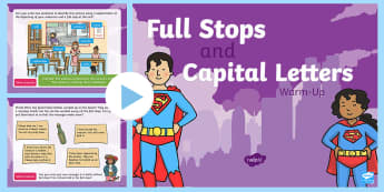 Year 1 Full Stops and Capital Letters Warm-Up PowerPoint - Spag, revision, morning starter, sentences, punctuation