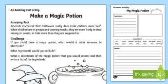 Make a Magic Potion Activity Sheet, worksheet