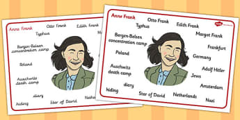 Anne Frank Word Mat - anne, frank, word, mat, word mat, ww2
