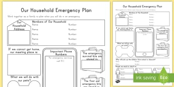 Our Household Emergency Plan Activity Sheet  - emergency, plan, activity sheet, disaster, safety
