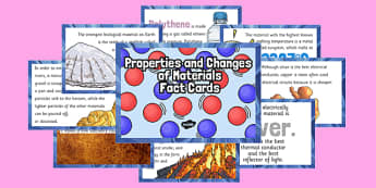 Properties and Changes of Materials Fact Cards - irreversible, reaction, thermal, electrical, conductor, insulator, magnetic, dissolve, separate, mixture