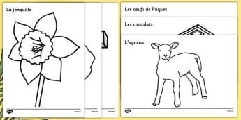 Easter Colouring Images French - french, Easter, colouring poster, colouring, fine motor skills, activity, Easter, bible, egg, Jesus, cross, Easter Sunday, bunny, chocolate, hot cross buns