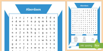 Aberdeen City Word Search - CfE Social Media Requests, Scotland, Scottish cities, Aberdeen, word search, people place and enviro