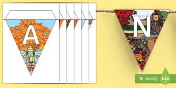 Le lettere dell'autunno Le bandierine - lettere, italiano, leggere, scrivere, decorazione, bandierine, autunno, autunnale, materiale, scolas