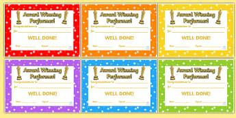 Award Winning Performance Certificates - award winning performance, certificates, reward certificates, certificate template, behaviour management