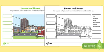 Houses and Homes Labelling Differentiated Activity Sheet Pack, worksheet