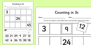 Counting in 3s Cut and Stick Activity Sheet - counting, count, cut and stick, activity, 3s, worksheet