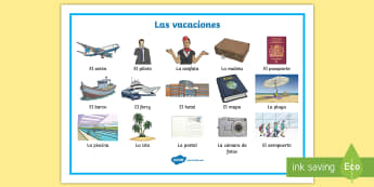 Holiday Travel Topic Word Mat - Spanish - Spanish, Vocabulary, KS2, holidays, travel, summer, trips, flying, travelling,