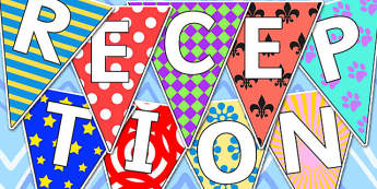 Welcome to Reception Bunting Pretty Pattern Themed - reception, welcome to reception, bunting, themed bunting, display bunting, bunting flags, flag bunting