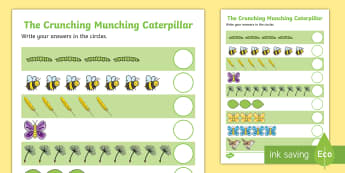 Counting Sheet to Support Teaching on The Crunching Munching Caterpillar - counting aid
