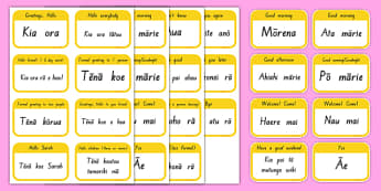 Greetings Flashcards - Te Reo Māori Resources, Greetings