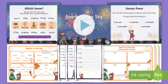 Sparks in the Sky Senses Poetry Activity and PowerPoint Pack - Bonfire Night, Fireworks, KS1, Writing, Guy Fawkes Night, poems, poem, sensory, five senses