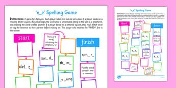 e-e Spelling Board Game